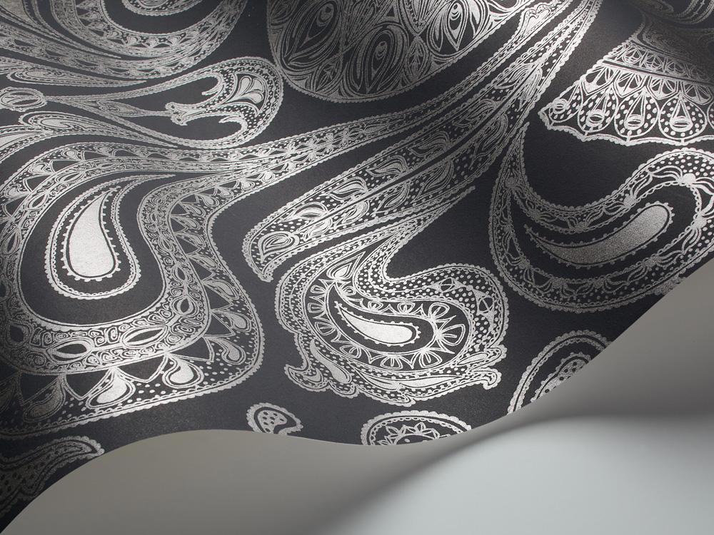 Tienda online telas papel papel pintado malabar color negro plata - Papel pintado color plata ...