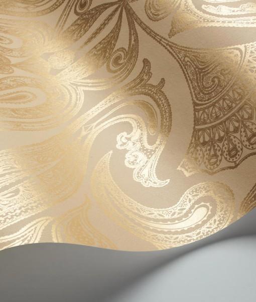 Papel pintado malabar dorado telas papel for Papel pintado dorado
