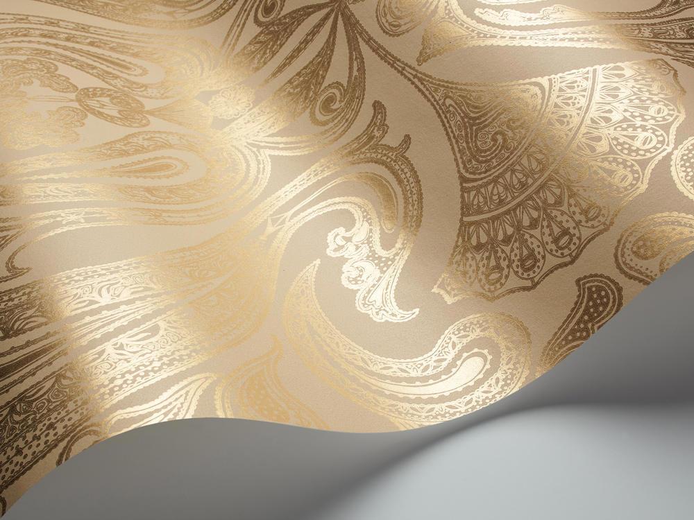 Tienda online telas papel papel pintado malabar dorado for Marcas de papel pintado