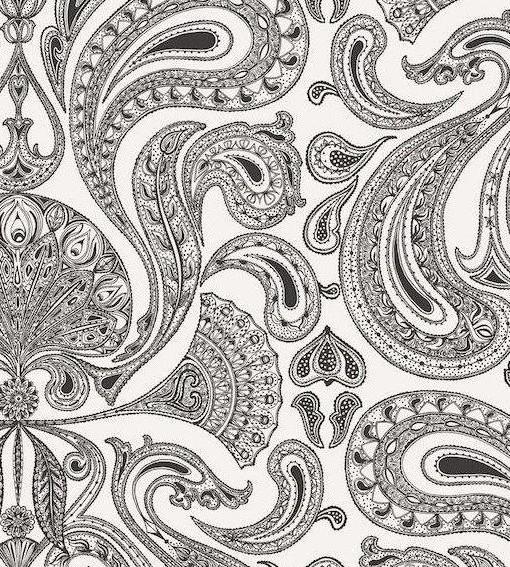 Papel pintado malabar blanco y negro telas papel for Papel pintado blanco y negro