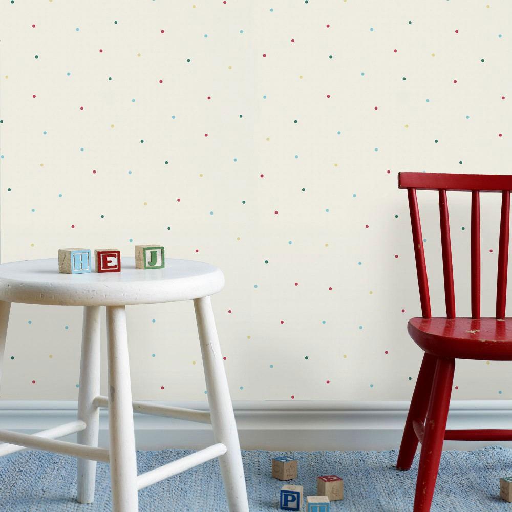 Tienda online telas papel papel pintado lunares mia - Papel pintado turquesa ...