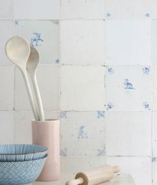 Papel pintado tiles con azulejos telas papel - Papel pintado sobre azulejos ...