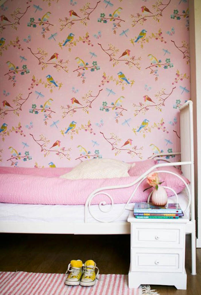 Papeles pintados infantiles de color rosa telas papel - Papeles infantiles para paredes ...