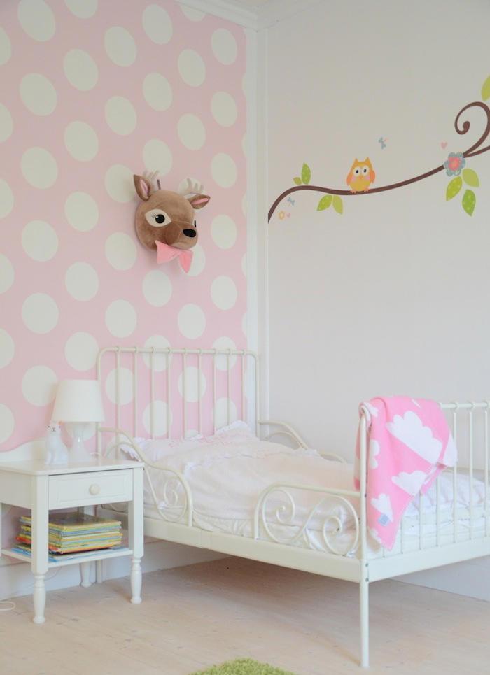 Tienda online telas papel un dormitorio infantil con for Papel pintado de lunares
