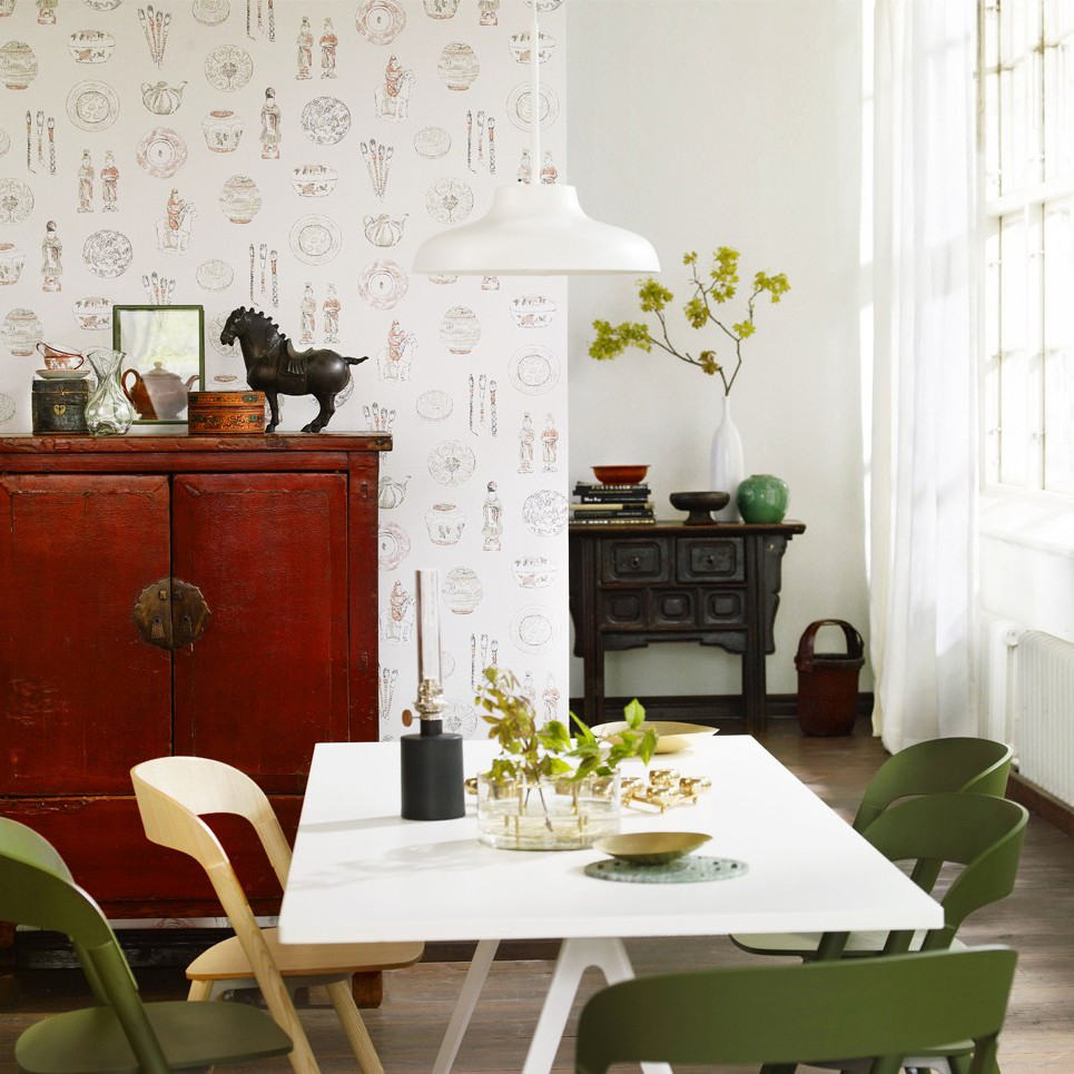 Papel pintado motivos orientales calle verde claro telas for Comedor papel pintado