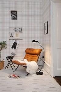 casa nórdica con papel cuadros