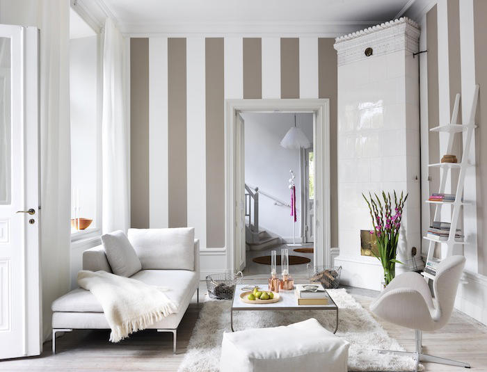 Tienda online telas papel papeles pintados a rayas de - Papel pintado pared salon ...