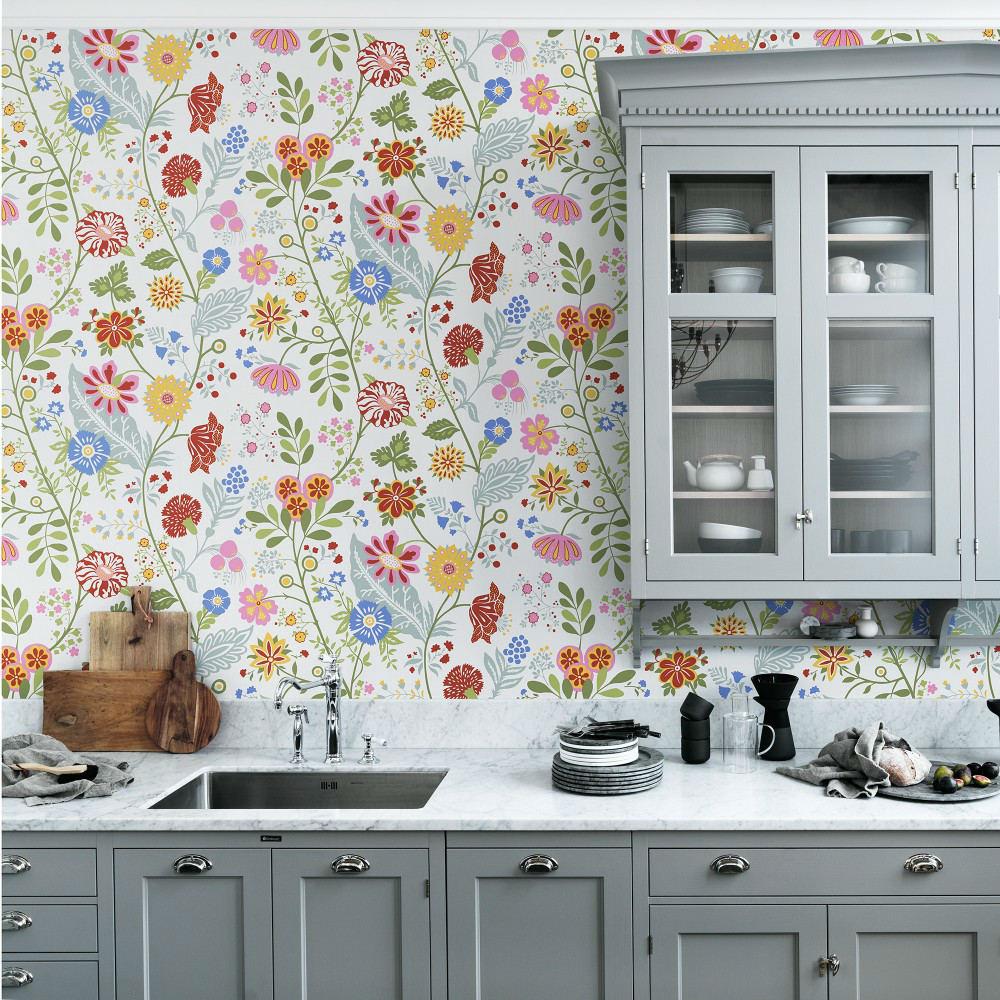 tienda online telas & papel | Papel pintado flores Amelie