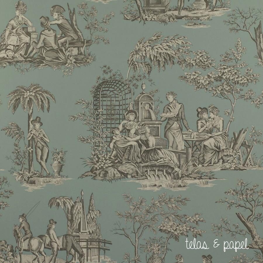 Tienda online telas papel papel pintado toile de jouy - Papel pintado toile de jouy ...