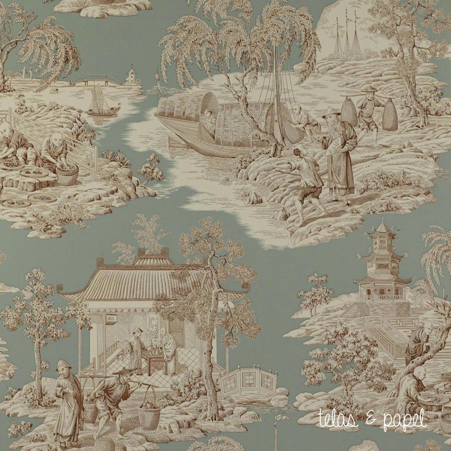 Tienda online telas papel papel toile de jouy tortuga - Papel pintado toile de jouy ...