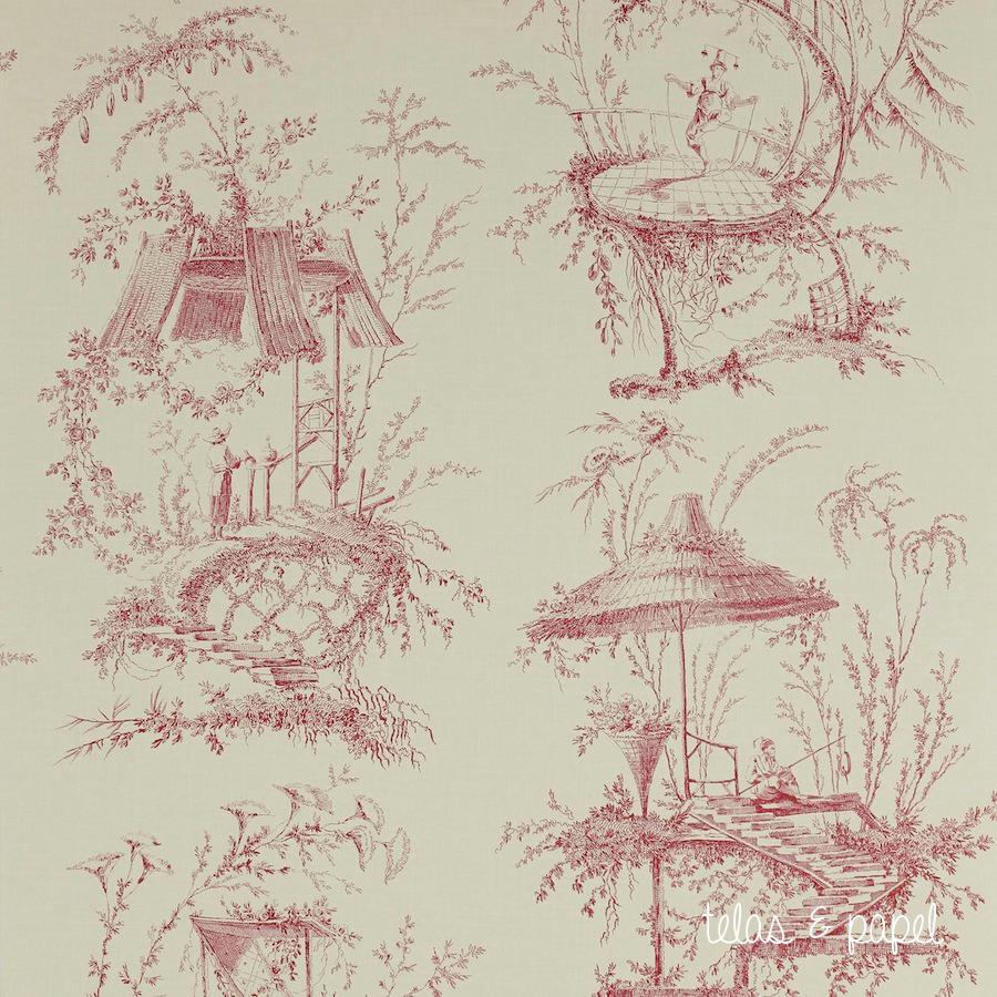 Tienda online telas papel papel toile de jouy trianon rojo - Papel pintado toile de jouy ...