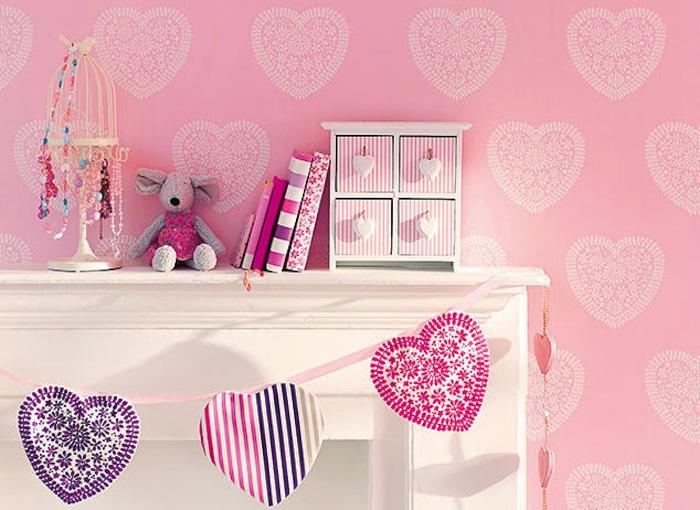 Tienda online telas papel papel pintado con corazones for Programa para decorar habitaciones online