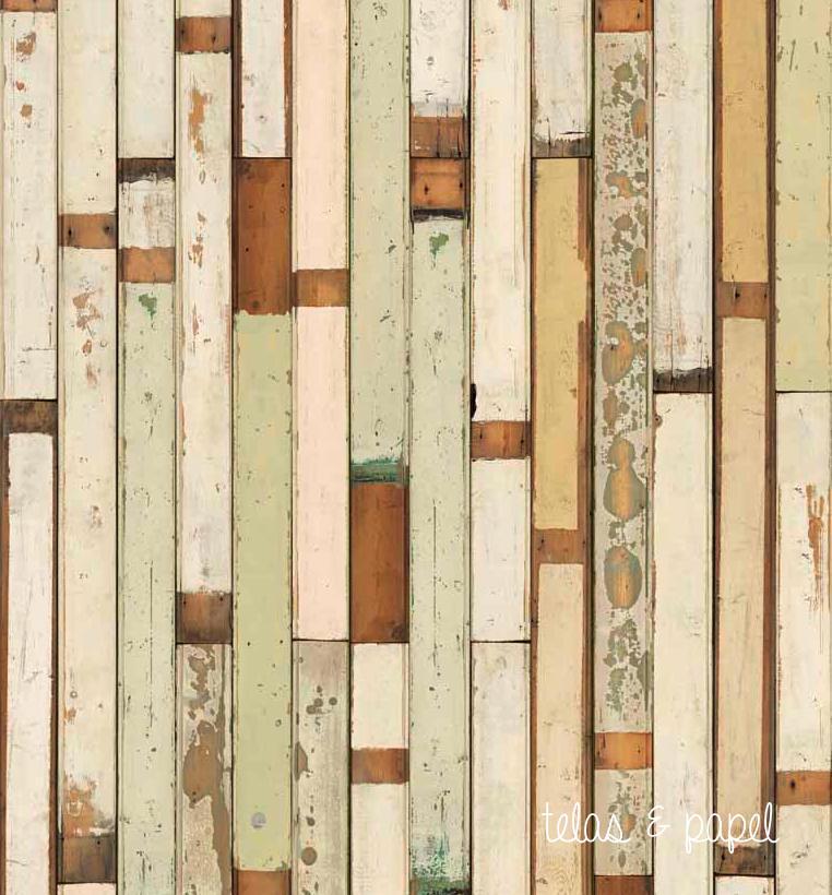 Tienda online telas papel papel pintado listones madera crema - Papel pintado madera ...