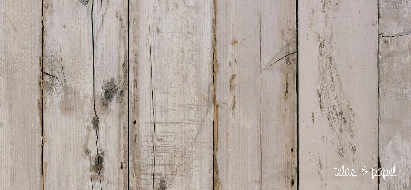 Tienda online telas papel papel pintado listones madera blanqueada - Papel pintado madera ...