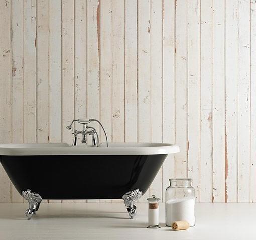 Papel pintado listones madera blanca telas papel for Papel pintado imitacion madera blanca