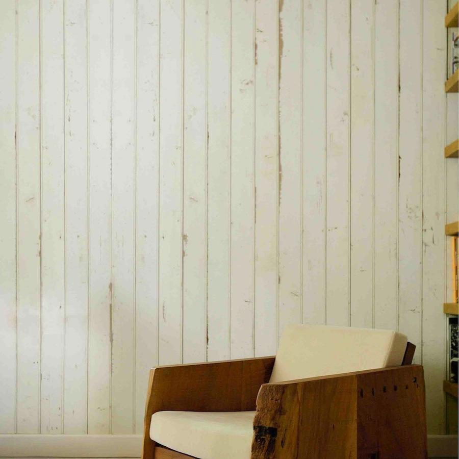 Papel pintado listones madera blanca telas papel for Papel pintado madera blanca