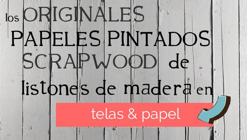 Un dormitorio empapelado con el papel scrapwood telas - Papeles pintados online ...