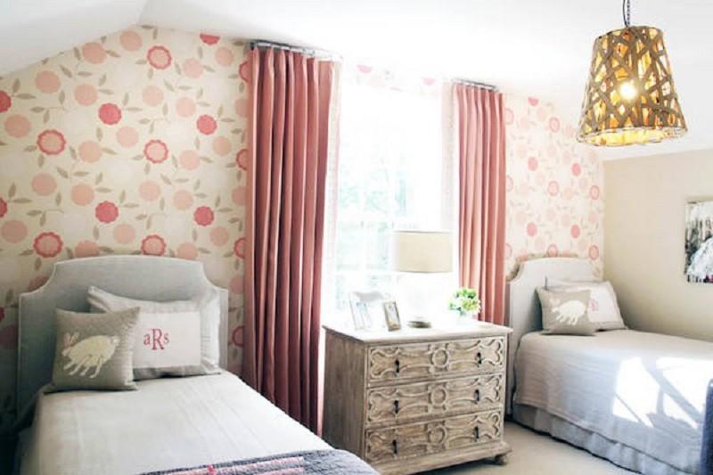 papel pintado de flores para la pared del cabecero de la cama