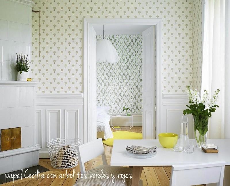 Tienda online telas papel qu colores marcan tendencia este oto o - Papel pintado salones ...