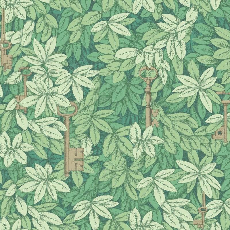 Baño Pintado De Verde: telas & papel