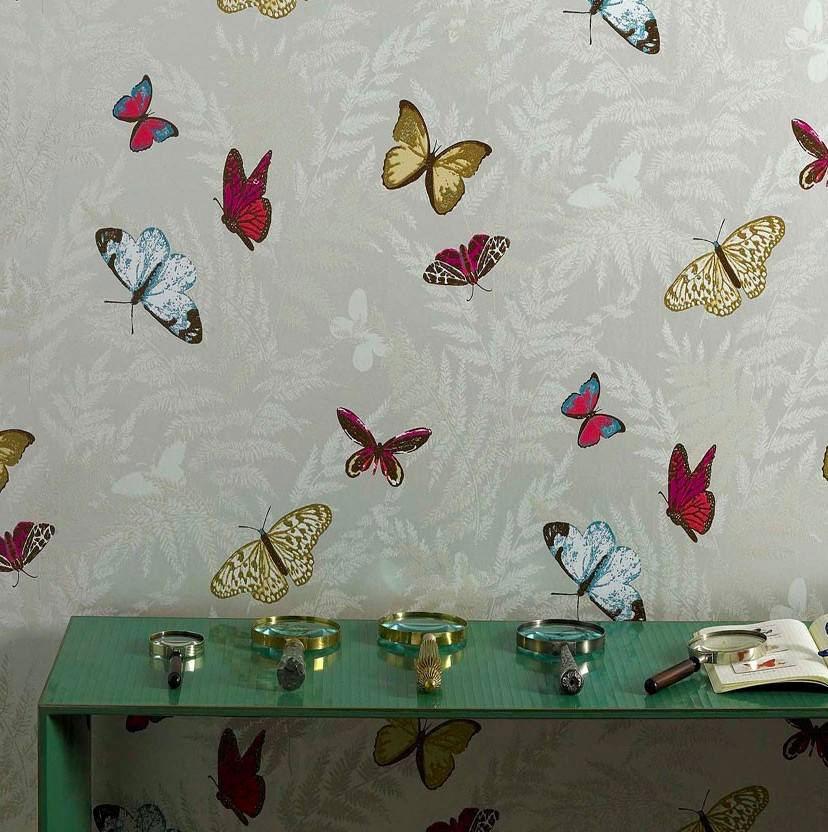 Tienda online telas papel papel pintado mariposas en for Papel pintado estampado