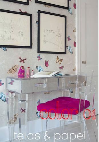 Tienda online telas papel papel pintado mariposas en for Papel pintado nina