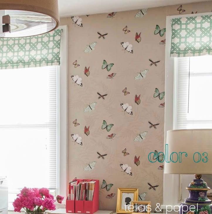 Tienda online telas papel papel pintado mariposas - Papel pared nina ...
