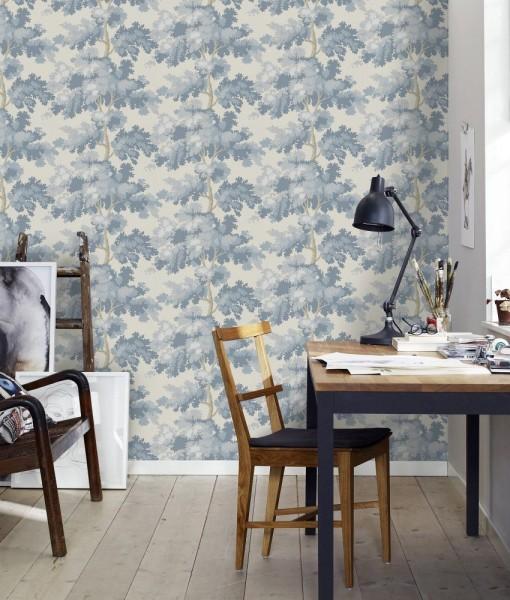 Papel pintado raphael azul antiguo telas papel - Papel pintado antiguo ...