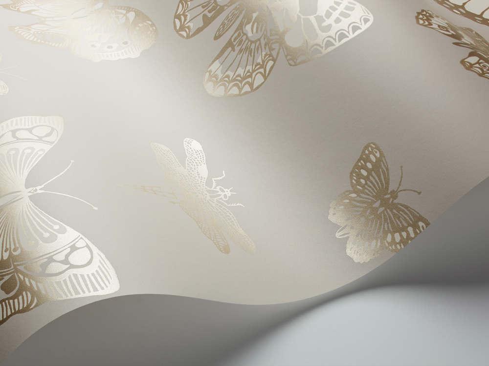 Tienda online telas papel papel mariposas y lib lulas gris - Papel pintado mariposas ...