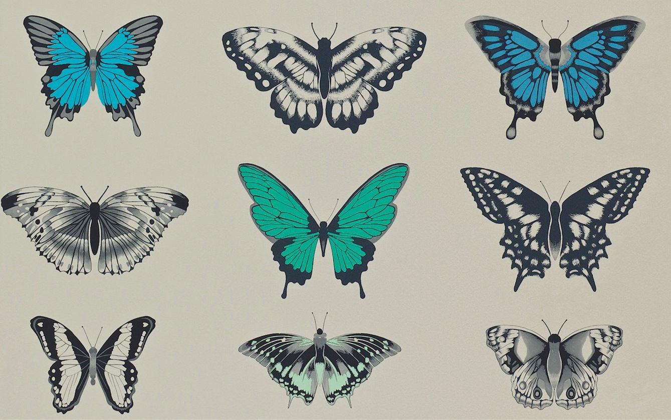 Tienda online telas papel papel de mariposas azul for Papel pintado azul y plata