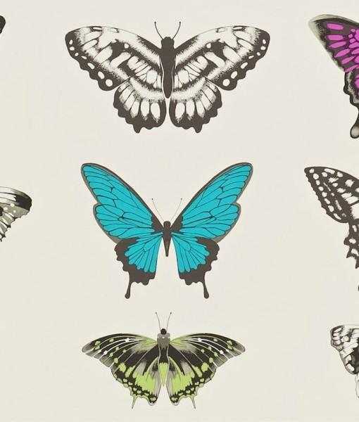 Tienda online telas papel papel de mariposas rosa - Papel pintado mariposas ...