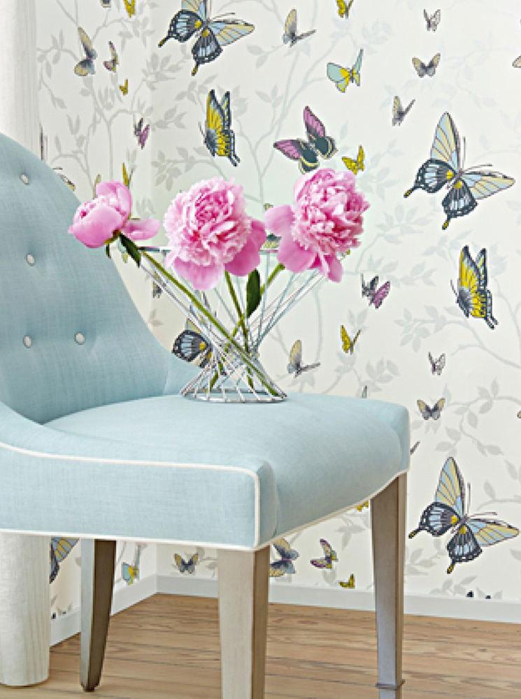 Tienda online telas papel papel papillon plata - Papel pintado mariposas ...