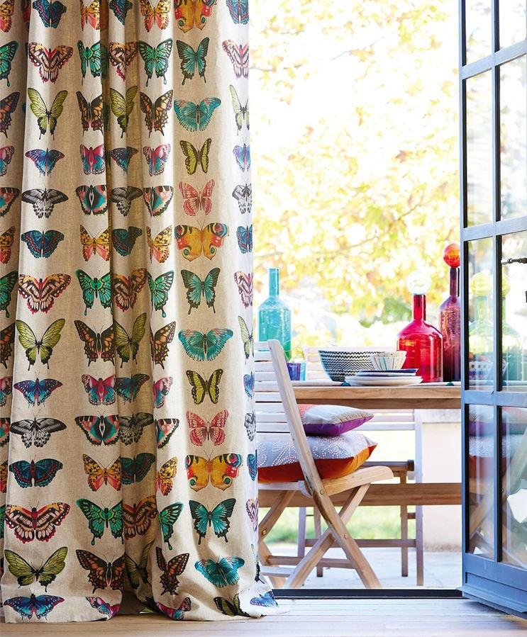 Tienda online telas papel cortinas con telas de mariposas for Cortinas de tela