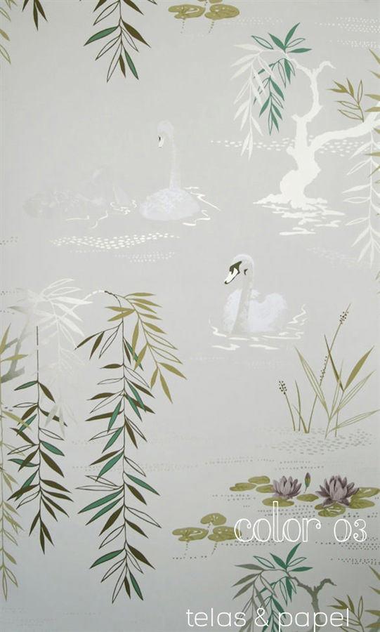 Tienda online telas papel papel pintado cisnes gris plata - Papel pintado colores ...