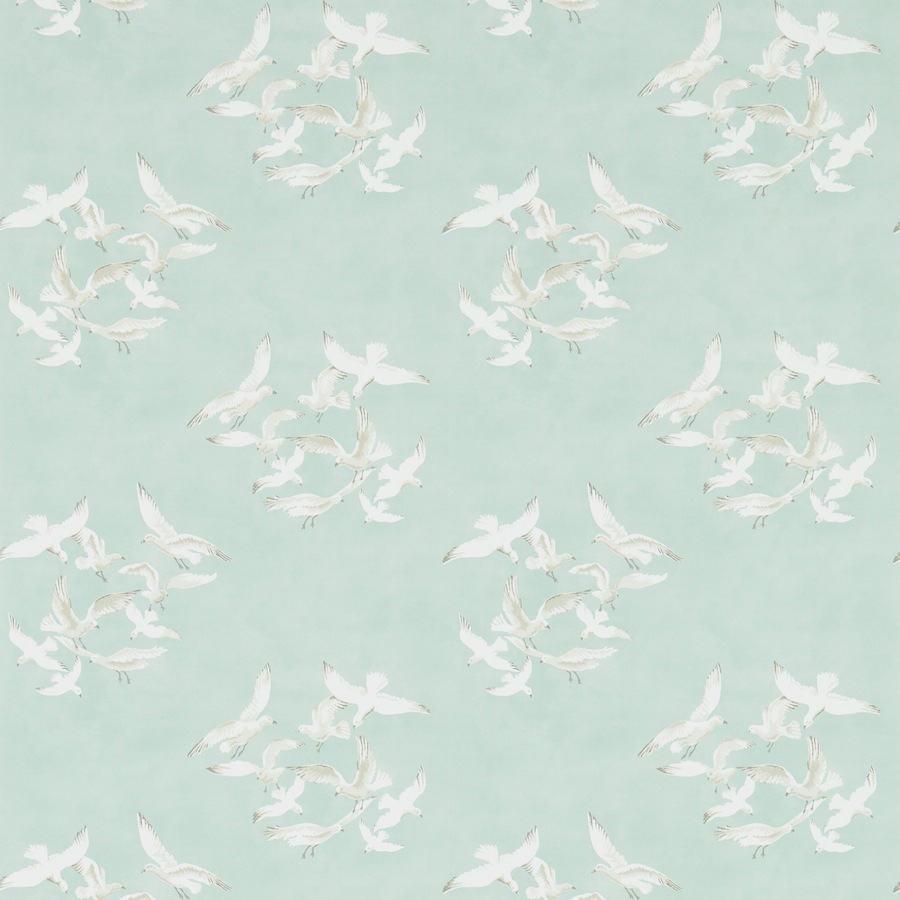 Tienda online telas papel papel gaviotas verde agua for Papel pintado verde