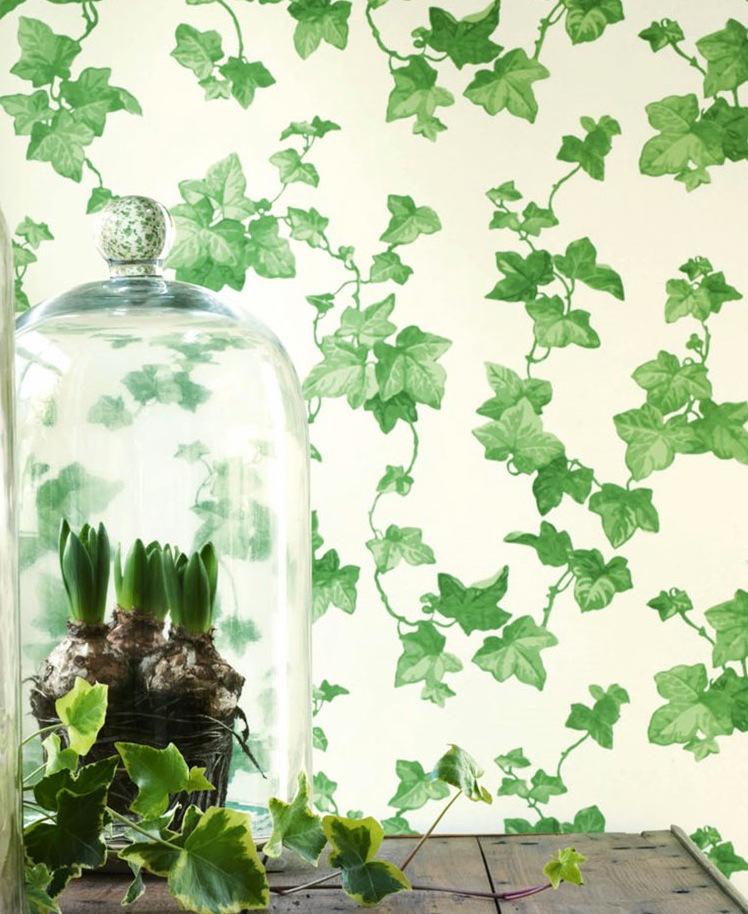 Tienda online telas papel papel hiedra verde for Papel pintado hojas