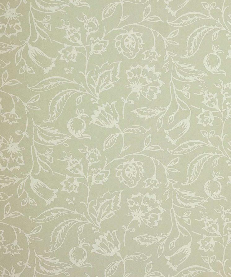 Tienda online telas papel papel pintado marie verde crema for Papeles pintados ingleses