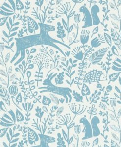 papel-pintado-animalitos-bosque-azul