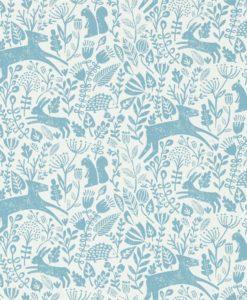 papel-pintado-animalitos-bosque-azul-cobalto