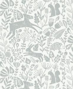 papel-pintado-animalitos-bosque-gris