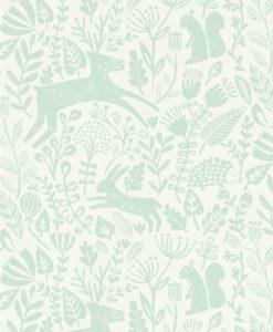 papel-pintado-animalitos-bosque-verde