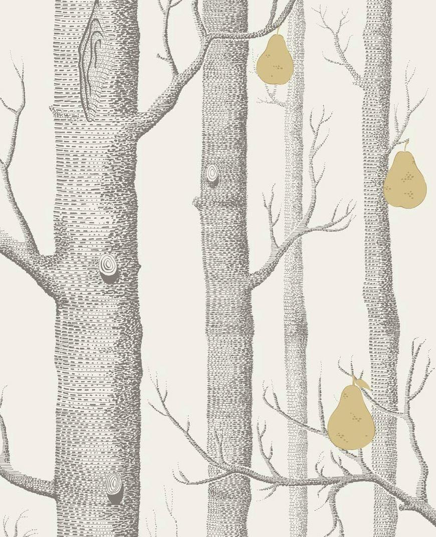 Tienda online telas papel papel troncos y peras blanco - Papel pintado blanco y gris ...