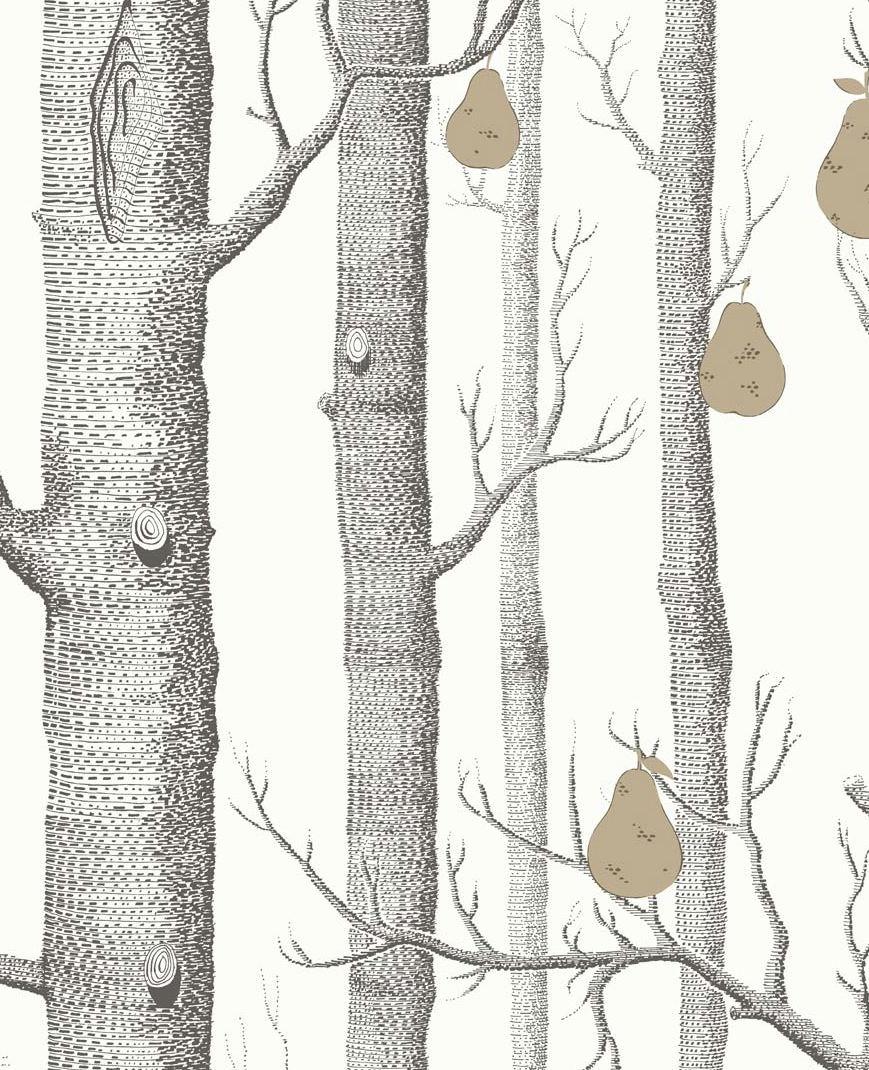 Tienda online telas papel papel troncos y peras blanco y negro - Papel pintado negro ...