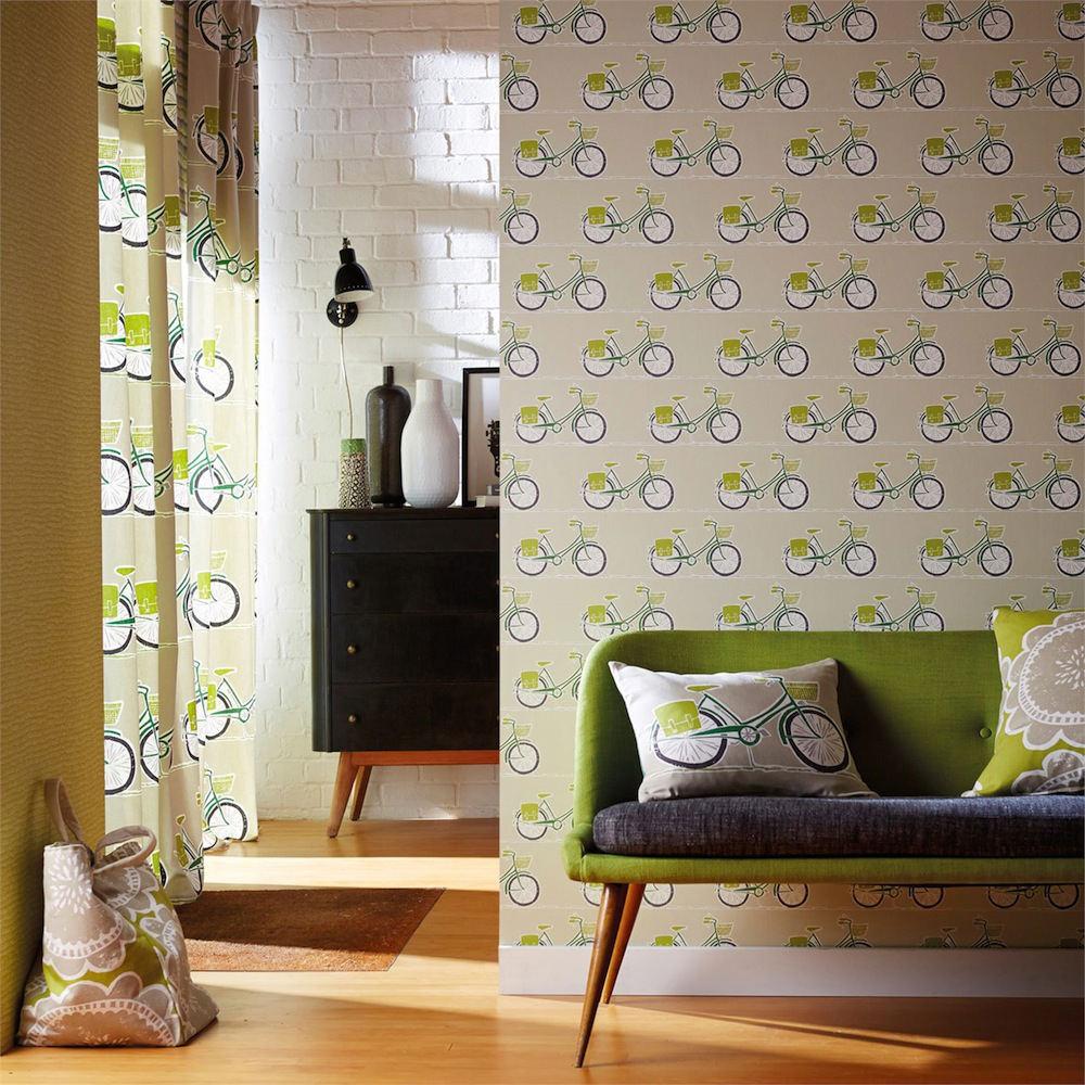 Tienda online telas papel papel pintado bicis verdes - Papel pintado online ...