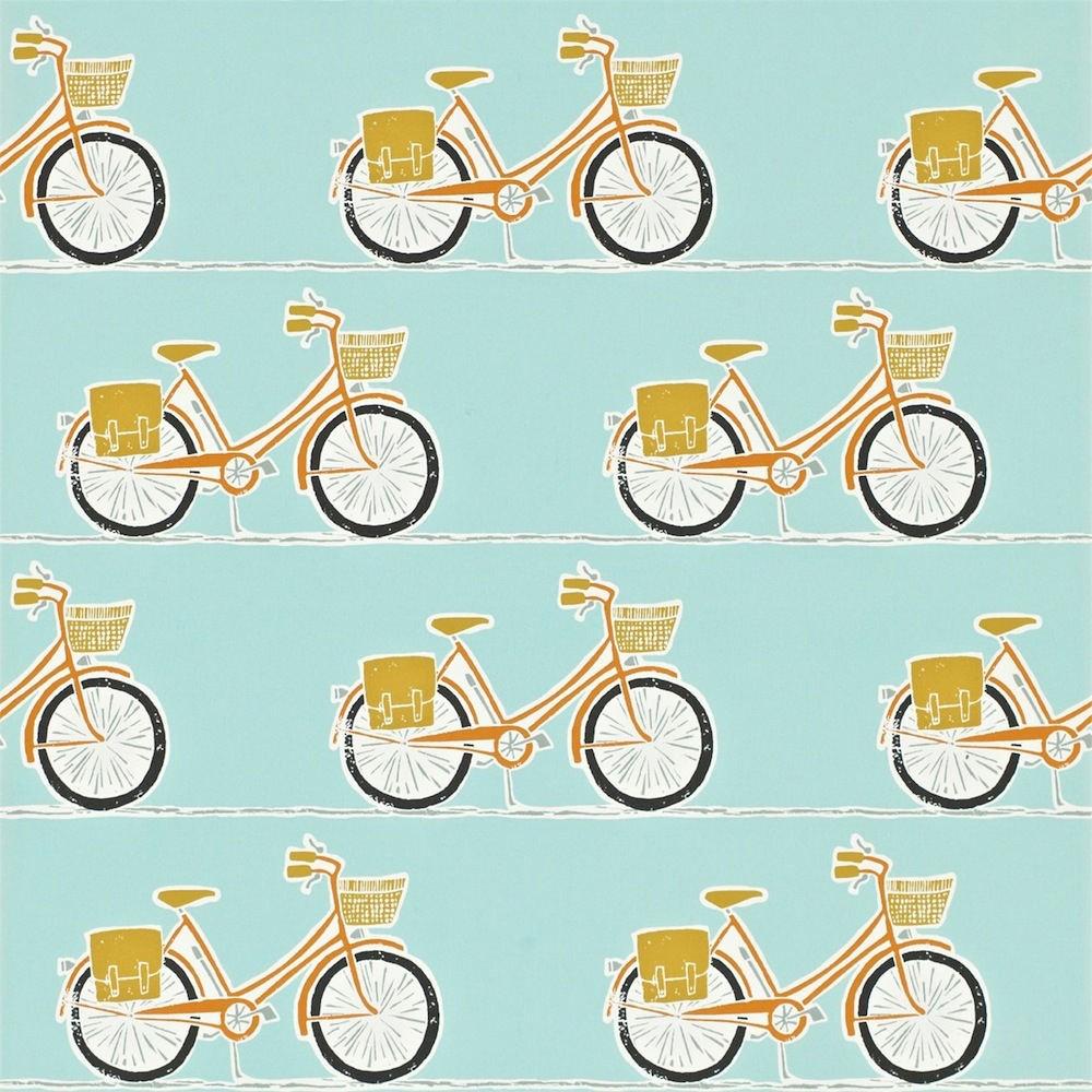 Tienda online telas papel papel pintado bicis mandarina - Papel pintado on line ...