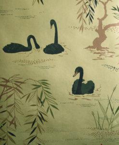 papel-pintado-cisnes-dorado