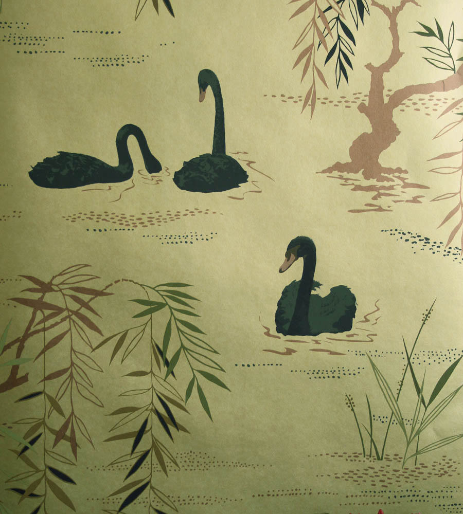 Tienda online telas papel papel pintado cisnes dorado - Papel pintado dorado ...