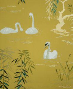 papel-pintado-cisnes-mostaza