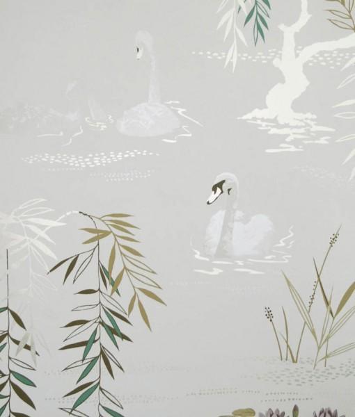 Tienda online telas papel papel pintado cisnes gris plata for Papel pintado gris plata