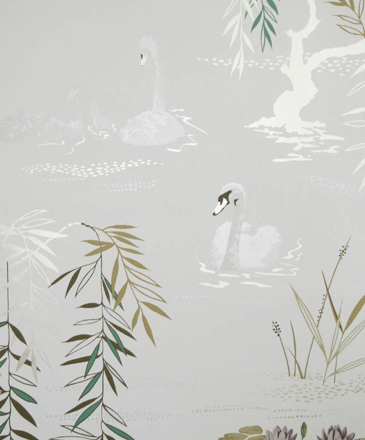 Tienda online telas papel papel pintado cisnes gris plata - Papel pintado color plata ...